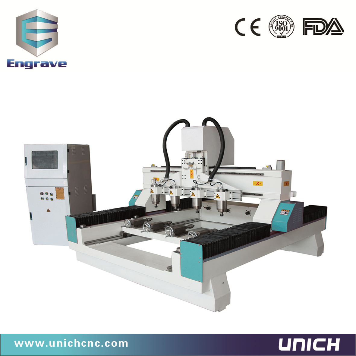 Four head cnc router for round material
