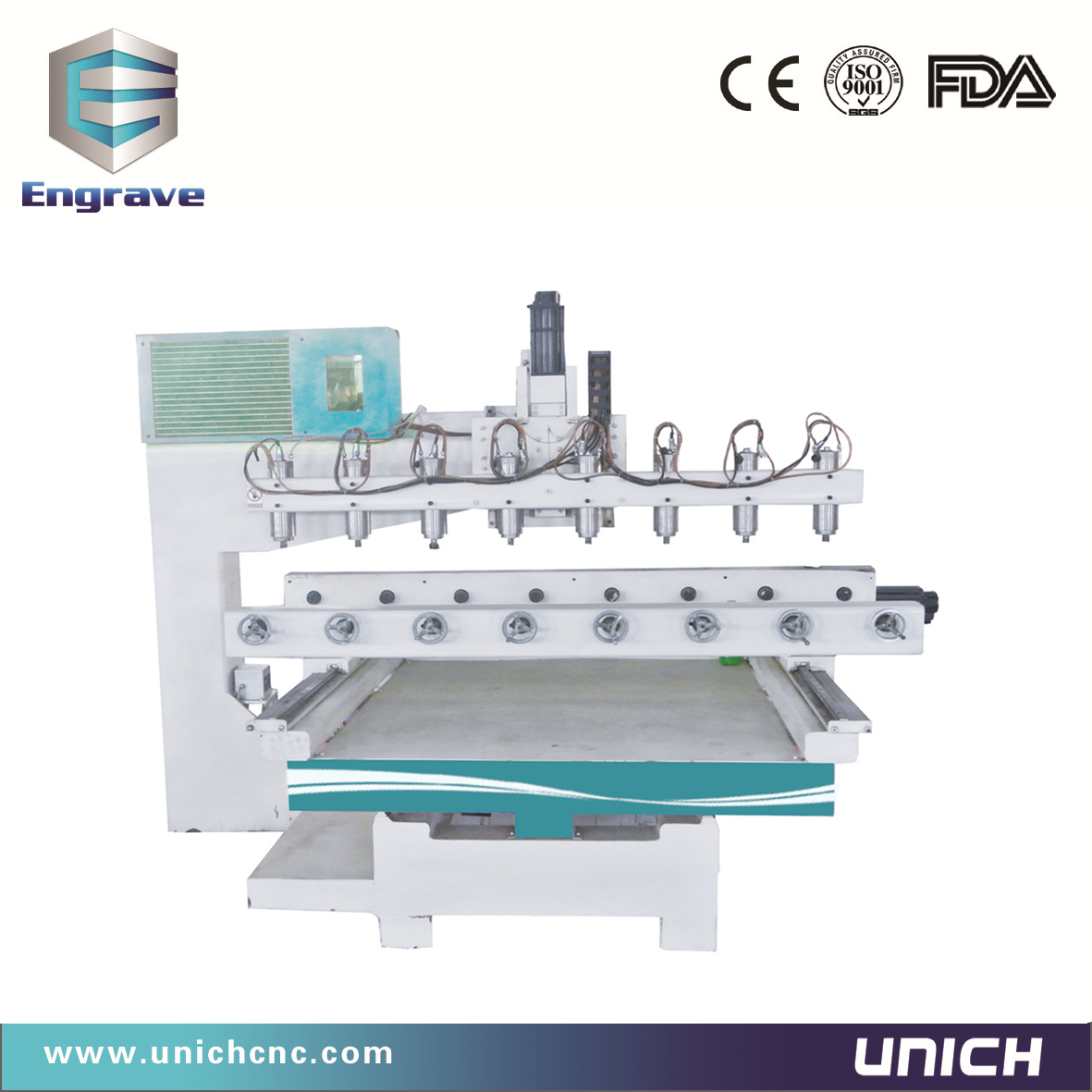 Eight  head  cnc router for round material