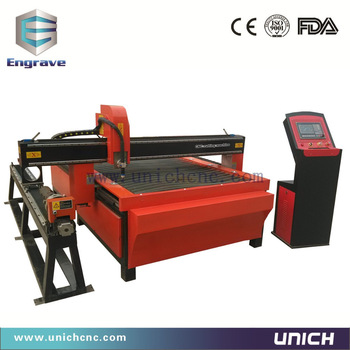 UNICH 1300 *2500mm working area plasma cutting machine with rotary