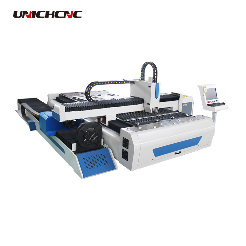 High precision 300w 500w 750w fiber laser cutting machine with side rotary for stainless carbon steel copper cutting
