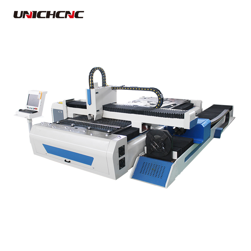 Round or square tube cutting fiber laser cutting machine with the rotary for Tube size 6m 155mm
