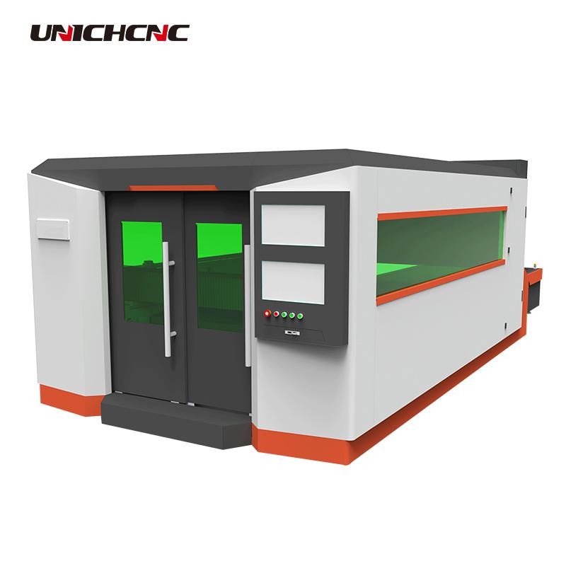 High cost metal fiber laser cutting machine with Raycus laser source&presitec